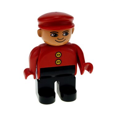 1 x Lego brick Duplo Figure Male Black Legs Red Top with 2 Yellow Buttons Red Cap 4555pb117