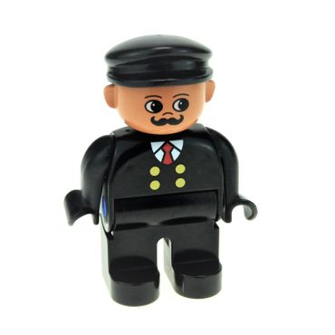 1 x Lego brick Duplo Figure Male Black Legs Black Top with 4 Yellow Buttons and Red Tie Black Hat Curly Moustache ( Train Engineer ) 4555pb075
