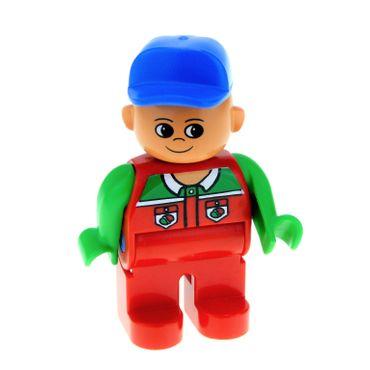 1 x Lego Duplo Figur Mann Tankwart Hose rot Oberteil grün mit Octan Logo Mütze Basecap blau 4555pb040