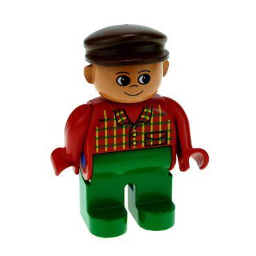 1 x Lego Duplo Figur Mann Hose grün Hemd rot kariert  Mütze Hut braun Bauer Farm 4555pb071