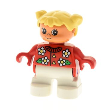 1 x Lego brick Duplo Figure Child Type 2 girl White Legs Red Top with Flowers Pattern Collar And 2 Buttons Yellow Hair Pigtails 6453pb038