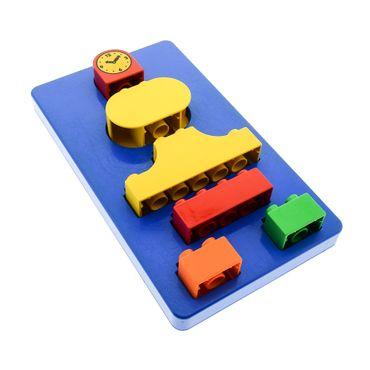 1 x Lego Duplo B-Ware abgenutzt Steck Stein Bau Sortier Motorik Kasten blau besteht aus Grund Platte Uhr Form Steine für Set 2033 4798