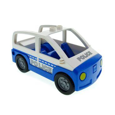 1 x Lego Duplo Auto blau weiß Polizei Polizeistreife Wagen Van Police Schrift silber grau für Set 5681 4354c03pb01*