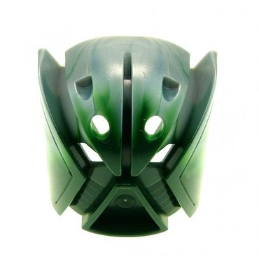 1 x Lego brick figure Dark Green Bionicle Kanohi Mask Matatu with Pearl Light Gray Top ( Orkahm ) 8611 32570pb01