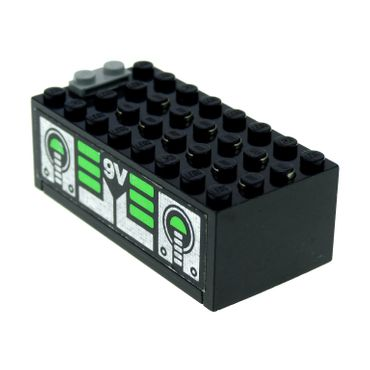 1 x Lego brick Black Electric 9V Battery Box Small Complete Assembly with Unitron Silver / Green Pattern on both sides (Stickers) - Set 6991 4761 4760c01pb06