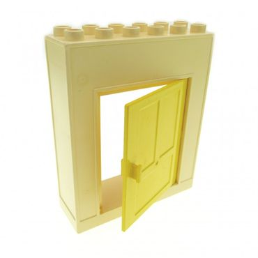 1 x Lego brick cream white Duplo Building Wall with Door Frame Yellow Duplo Door 1 x 4 x 4 6467 6459