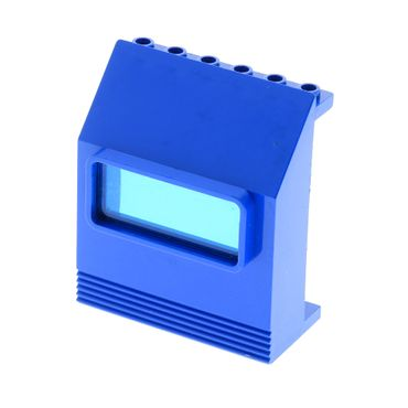1 x Lego brick blue Panel 3 x 6 x 6 Sloped with trans-dark blue Window 6520 6575 x207 30288