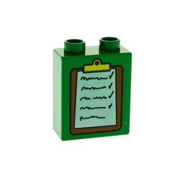 1 x Lego brick Green Duplo, Brick 1 x 2 x 2 with Clipboard Pattern 4066pb113
