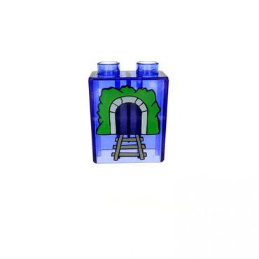 1 x Lego Duplo Motivstein transparent lila violette 1x2x2 bedruckt Tunnel Bild Bau Stein Zug Intelli Eisenbahn Verkehrs Zeichen Schild 4066pb020