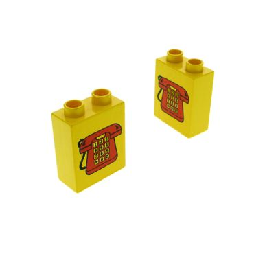 2 x Lego Duplo Motivstein gelb 1x2x2 bedruckt Telefon mit Zahlen rot Bild Bau Stein 4066pb100
