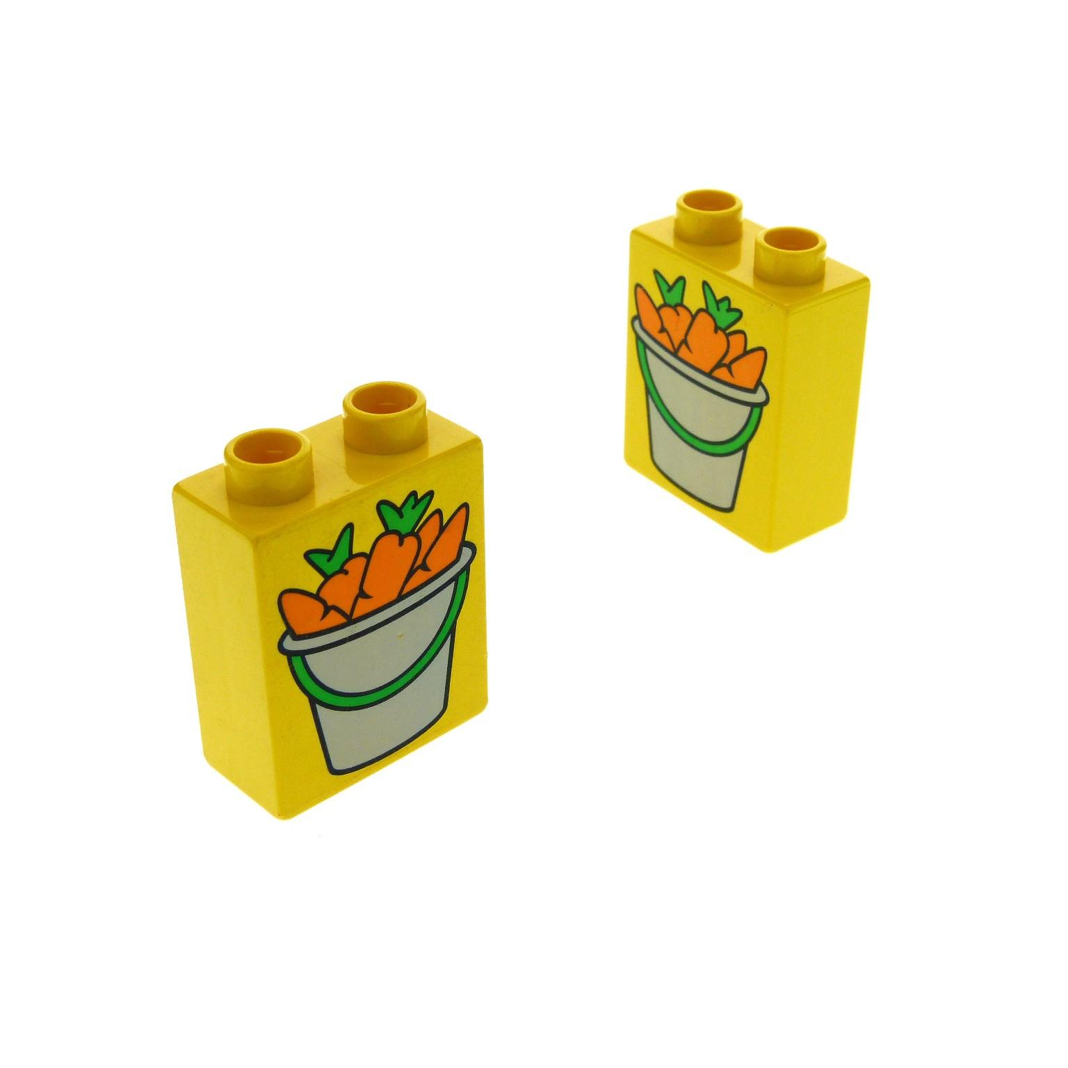 2 X Lego Brick Yellow Duplo Brick 1 X 2 X 2 With Bucket Of Carrots