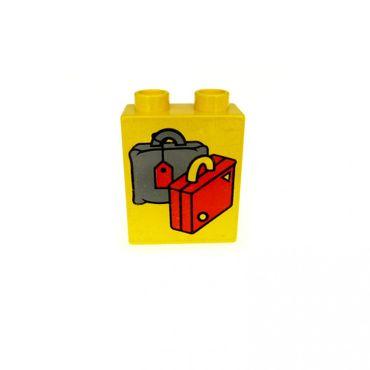 1 x Lego Duplo Motivstein gelb 1x2x2 bedruckt Koffer Reise Tasche Bau Stein 4066pb078