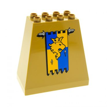 1 x Lego Duplo Burg Wand dunkel beige tan 3 x 6 x 5 bedruckt mit Löwen Flagge Ritter Burg Schloß Mauer Element Castle 4864 54010pb02