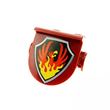 1 x Lego brick Dark Red Duplo Plate 1 x 2 with Overhang with Phoenix on Black Shield Pattern 42236px4