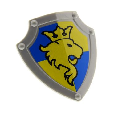 1 x Lego brick Flat Silver Duplo Utensil Shield Angled Triangle with Lion and Crown Pattern 4251823 51711pb01