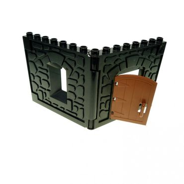 1 x Lego brick black Duplo Building Wall 1 x 8 x 8 with Window Opening - Castle black Duplo Building Wall 1 x 8 x 8 with Door Opening 51288 51695 51697