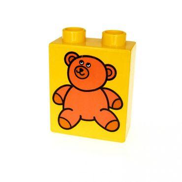 1 x Lego Duplo Motivstein gelb 1x2x2 bedruckt Teddy Bär Bild Bau Stein 4066pb082