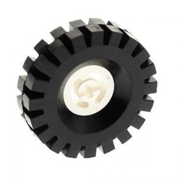 1 x Lego Technic Rad schwarz weiß 17x43 Vollgummi Reifen Rad  Felge Technik 3634 3482c03