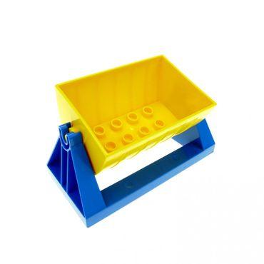 1 x Lego brick blue Duplo Train Tipper Holder 4 x 8 (Skip Holder) with Yellow Duplo Train Tipper 2 x 4 with Curved Sides (Skip) 51558 51557