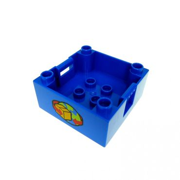 1 x Lego brick Blue Duplo Container Box 4 x 4 with Studs on Corners with Box and Arrows and Globe Pattern 5609 47423px9