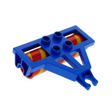 1 x Lego Duplo Anhänger Walze blau rot orange gelb Bauernhof Traktor Farm Auto 4828c02pb01