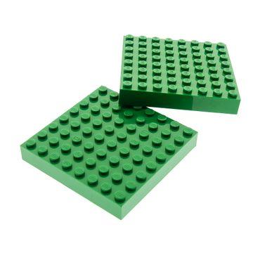 2 x Lego System Bau Platte 8 x 8 grün 8x8 5955 320 3600 4406 7795 5477 4213 43802 4201