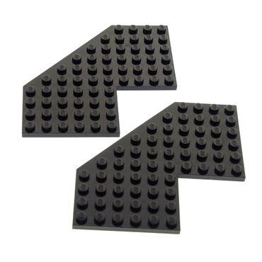 2 x Lego System Bau Platte schwarz 10x10 ohne Ecke 10 x 10 Winkelplatte 2161 6984 6986 1822 6160 2401
