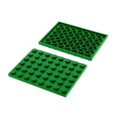 2 x Lego System Bau Platte grün  6x8 79003 4565 7998 10223 1998 79104 303628 3036