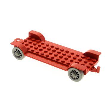 1 x Lego System Fabuland Fahrzeug rot 14x6 Chassis Fahrgestell Auto Anhänger Platte Rad Speichen Räder fabaa1
