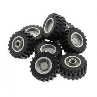 8 x Lego System Rad schwarz 30.4 x 14 Reifen Felge alt-hell grau 18mm D. x 14mm Technic Räder 30391 30285c01