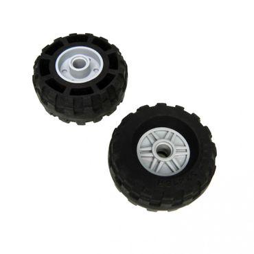 2 x Lego System Rad schwarz neu-hell grau 18mm D. x 14mm 37x18 R Felge Räder Reifen mit Pin Loch Technic 56891 55981 4506553 4299119 55981c04