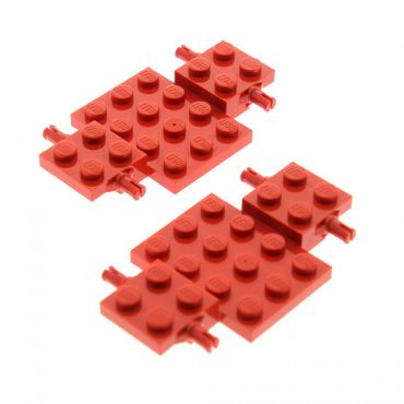 2 x Lego System Fahrgestell rot 4 x 7 x 2/3 Auto LKW Unterbau Platte Chassis 2441