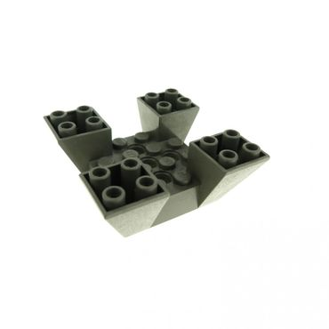 1 x Lego brick dark gray Slope Inverted 65 6 x 6 x 2 Quad with Cutouts 4479 7146 7150 7152 30373