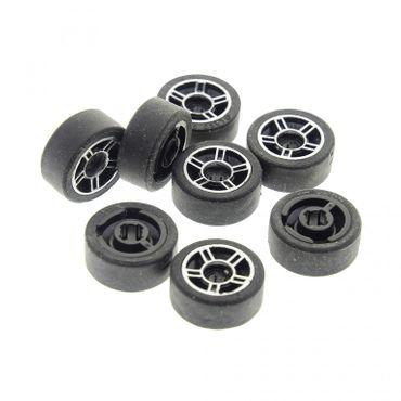 8 x Lego System Rad grau schwarz 11x6 14x6 Felge Reifen Technic Räder komplett Auto 50945 50944pb01c01
