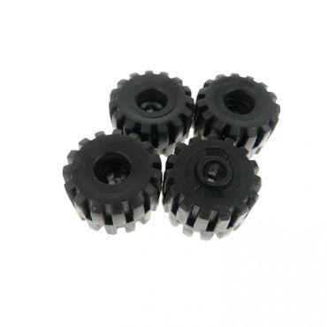 4 x Lego Technic Rad schwarz mit Achs Loch Voll Gummi Reifen Technik Räder 32193