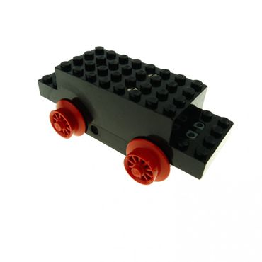 1 x Lego brick black Electric, Motor 4.5V Type II 12 x 4 x 3 1/3 with red train wheel x469b