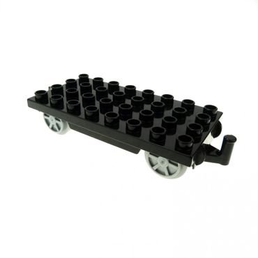 1 x Lego brick Black Duplo Train Base 4 x 8 with Pearl Light Bluish Gray Train Wheels and Moveable Hook 31300c01