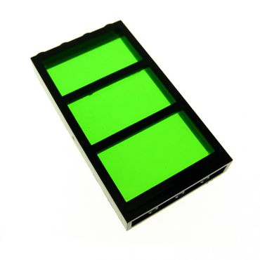 1 x Lego brick Black Window 1 x 4 x 6 Frame with 3 Panes Fixed Glass with Trans-Green Glass 6160c04