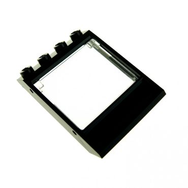 1 x Lego brick Black Window 4 x 4 x 3 Roof with Bottom Panel with trans-clear Glass for Window 1 x 4 x 3 - Opening 60603 60806 60806c01