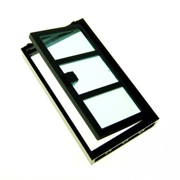 1 x Lego brick black Door Frame 1 x 4 x 6 with Black Door with Trans-light blue Glass 4110024 x39c01 30179c03