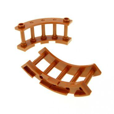 2 x Lego System Zaun dunkel orange braun erdfarben 4 x 4 x 2 Spindeln gebogen halbrund Gatter Zäune 30056