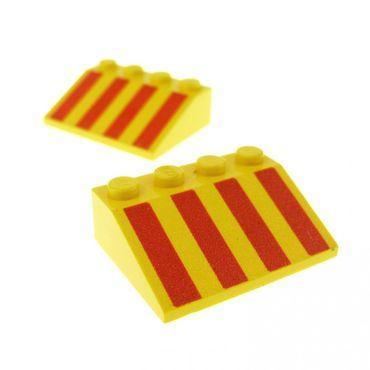 2 x Lego System Dachstein gelb 3 x 4 33° schräg bedruckt mit Streifen rot Set 1796 2146 4152 3297p01