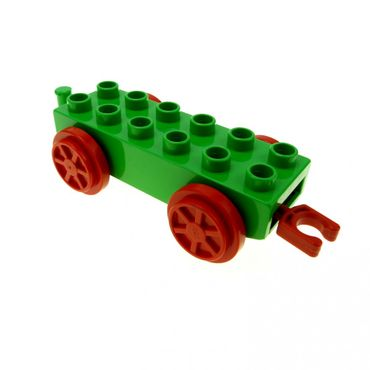 1 x Lego brick Bright Green Duplo Train Base 2 x 6 with Red Train Wheels and Moveable Hook Set 3770 9212 4559c01