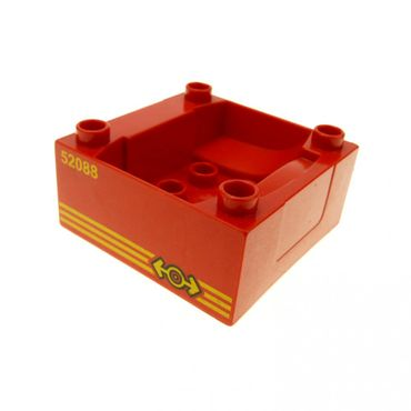 1 x Lego brick Red Duplo Train Cab / Tender Base with Bottom Tube and 52088 Locomotive Pattern 3771 51547pb06