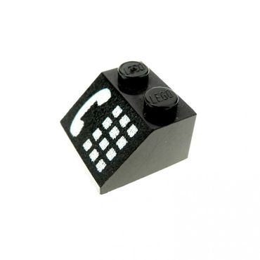 1 x Lego brick Black Slope 45 2 x 2 with Phone White Pattern 3039p12