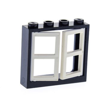 1 x Lego brick black Window 1 x 4 x 3 Train with Shutter Holes and Solid Studs on Ends with white Window 1 x 2 x 3 Pane 4195379 3854 6556