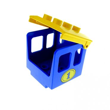 1 x Lego brick blue Duplo Train Steam Engine Cabin 3 x 3 x 3 with Yellow Oval and Number 1  with yellow Duplo Backhoe / Train Cabin Roof Set 2653 2701 9161 4543 4544pb01