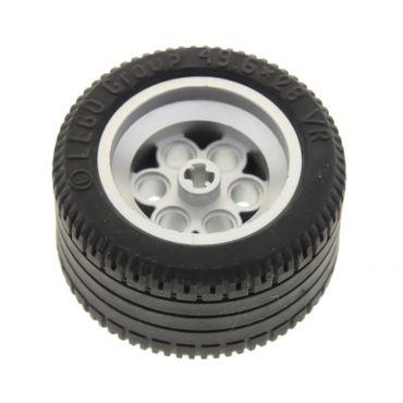 1 x Lego Technic Auto Rad schwarz 49.6x28 VR Reifen Felge metallic silber grau (6595 / 6594) 6595c01