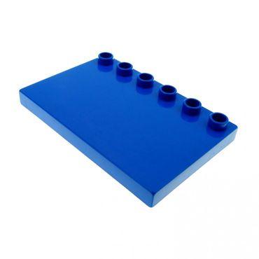 1 x Lego brick Blue Duplo Tile Modified 4 x 6 with Studs on Edge Set 3778 31465