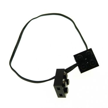 1 x Lego brick 1 x Lego brick Black Electric Wire with Brick 2 x 2 x 2/3 Pair 36 Studs Long 5306bc036